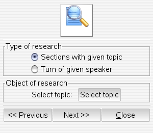 special search dialog